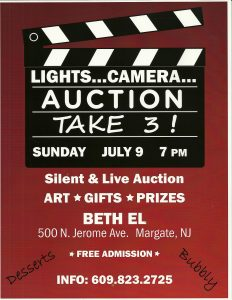 Lights Camera Auction - Take 3 @ Beth El Auction | Margate City | New Jersey | United States