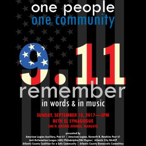 One Voice, One People, One Community - 9.11 Remember in Words & in Music @ Beth El Synagogue | Margate City | New Jersey | United States