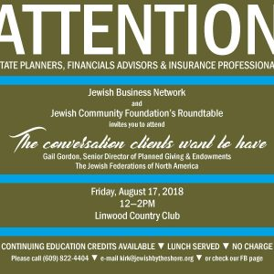 Jewish Business Network - Planned Giving CEU Event @ Linwood Country Club |  |  |