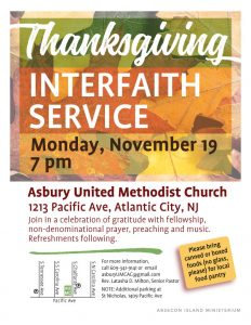 Thanksgiving Interfaith Service @ Asbury United Methodist Church | Atlantic City | New Jersey | United States