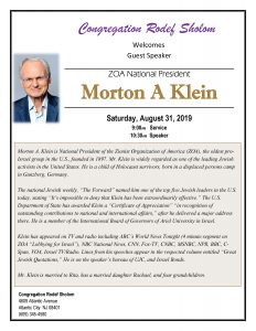 Morton Klein - ZOA President to speak @ Rodef Shalom Synagogue