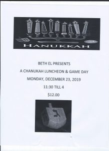 Chanukah Luncheon and Game Day @ Beth El Synagogue