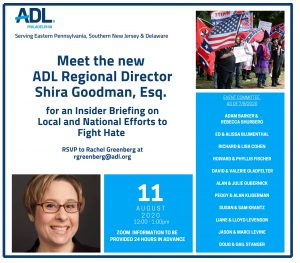 "Shira Goodman, New ADL Director - ""Efforts to Fight Hate"" via ZOOM"
