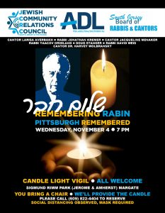 "Candle Light Vigil ""Remembering Rabin and Pittsburgh Remembered @ Sigmund Rimm Park"